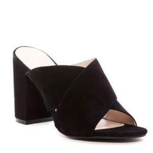 Cole Haan Gabby Black Chunky Heel Open Toe Mules